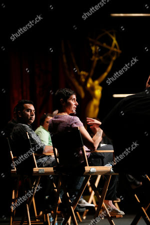 Editor Kabir Akhtar, left, and Moira Demos, right, participate during the 2016 Prime Cuts hosted by the Television Academy in the Wolf Theater on in the NoHo Arts District in Los Angeles