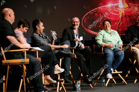 From left to right, Shawn Ryan, Moira Demos, Kabir Akhtar, ACE, Robert Malachowski, ACE, and Kelley Dixon, participate during the 2016 Prime Cuts hosted by the Television Academy in the Wolf Theater on in the NoHo Arts District in Los Angeles