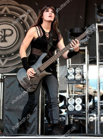 Emma Anzai of the band Sick Puppies performs in concert during Day 1 of the Rock Allegiance Festival at Talen Energy Stadium, in Chester, Pa