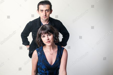 """Craig Roberts, left, and Alexandra Socha, cast members in the Amazon series """"Red Oaks,"""" pose for a portrait during the 2016 Television Critics Association Summer Press Tour at the Beverly Hilton, in Beverly Hills, Calif"""