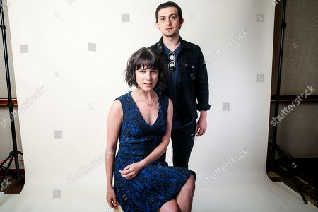 """Craig Roberts, right, and Alexandra Socha, cast members in the Amazon series """"Red Oaks,"""" pose for a portrait during the 2016 Television Critics Association Summer Press Tour at the Beverly Hilton, in Beverly Hills, Calif"""