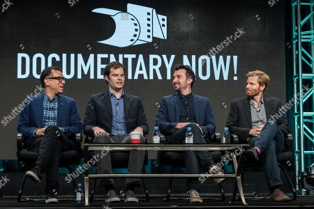 """Fred Armisen, from left, Bill Hader, Rhys Thomas, and Alex Buono participate in the """"IFC - Documentary Now!"""" panel during the AMC Networks Television Critics Association summer press tour, in Beverly Hills, Calif"""