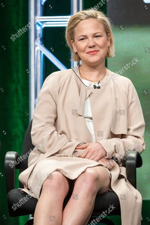 """Adelaide Clemens participates in the """"Rectify"""" panel during the AMC Networks Television Critics Association summer press tour, in Beverly Hills, Calif"""