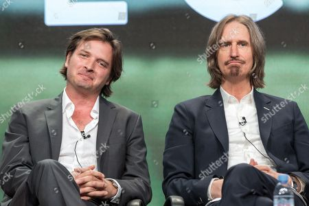 "Aden Young, left, and Ray McKinnon participate in the ""Rectify"" panel during the AMC Networks Television Critics Association summer press tour, in Beverly Hills, Calif"