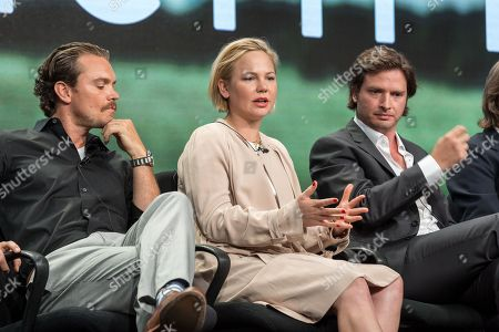 "Clayne Crawford, from left, Adelaide Clemens, and Aden Young, participate in the ""Rectify"" panel during the AMC Networks Television Critics Association summer press tour, in Beverly Hills, Calif"