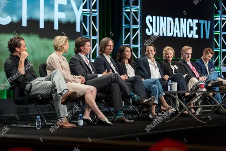 "Stock Picture of Clayne Crawford, from left, Adelaide Clemens, Aden Young, Ray McKinnon, Abigail Spencer, Luke Kirby, J. Smith-Cameron, Bruce McKinnon, and Jake Austin Walker, participate in the ""Rectify"" panel during the AMC Networks Television Critics Association summer press tour, in Beverly Hills, Calif"