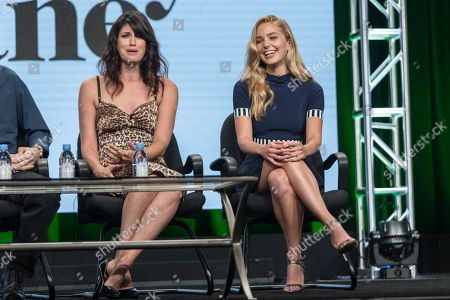 """Scout Durwood, left, and Jessica Rothe participate in the """"Mary + Jane"""" panel during the Viacom Networks Television Critics Association summer press tour, in Beverly Hills, Calif"""