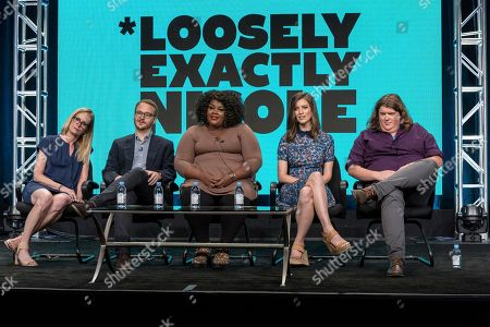 "Stock Picture of Christine Zander, from left, Christian Lander, Nicole Byer, Jen D'Angelo, and Jacob Wysocki participate in the ""Loosely, Exactly Nicole"" panel during the Viacom Networks Television Critics Association summer press tour, in Beverly Hills, Calif"