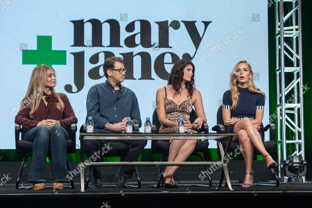 """Stock Photo of Deborah Kaplan, from left, Harry Elfont, Scout Durwood, and Jessica Rothe participate in the """"Mary + Jane"""" panel during the Viacom Networks Television Critics Association summer press tour, in Beverly Hills, Calif"""