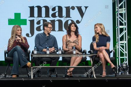 """Deborah Kaplan, from left, Harry Elfont, Scout Durwood, and Jessica Rothe participate in the """"Mary + Jane"""" panel during the Viacom Networks Television Critics Association summer press tour, in Beverly Hills, Calif"""