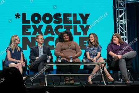 "Christine Zander, from left, Christian Lander, Nicole Byer, Jen D'Angelo, and Jacob Wysocki participate in the ""Loosely, Exactly Nicole"" panel during the Viacom Networks Television Critics Association summer press tour, in Beverly Hills, Calif"