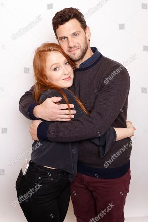 """Director Elizabeth Wood, left, and actor Justin Bartha pose for a portrait to promote the film, """"White Girl"""", at the Toyota Mirai Music Lodge during the Sundance Film Festival on in Park City, Utah"""