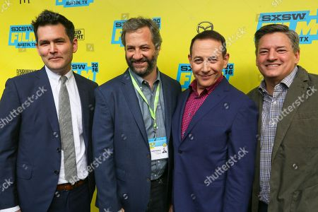 "Director John Lee, Judd Apatow, Paul Reubens, and Netflix's Ted Sarandos attend the world premiere of ""Pee-wee's Big Holiday"" during the South by Southwest Film Festival, in Austin, Texas"