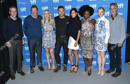 Producers Tom Rosenberg, from left, Gary Lucchesi and actress Dakota Fanning, actor/director Ewan McGregor, and actors Jennifer Connelly, Uzo Aduba, Valorie Curry and David Strathairn attend the American Pastoral press conference on day 3 of the Toronto International Film Festival at the TIFF Bell Lightbox, in Toronto