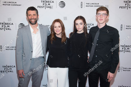 """Stock Photo of Bart Freundlich, left, Julianne Moore, Liv Freundlich and Caleb Freundlich attend the world premiere screening of """"Wolves"""" during the 2016 Tribeca Film Festival at the SVA Theatre, in New York"""