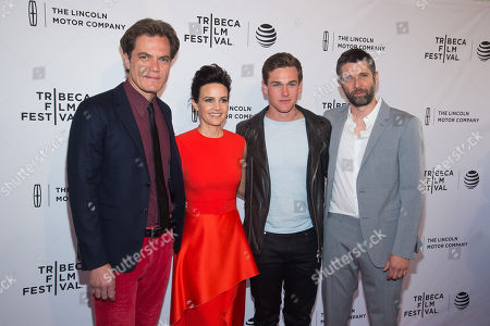 """Michael Shannon, left, Carla Gugino, Taylor John Smith and Bart Freundlich attend the world premiere screening of """"Wolves"""" during the 2016 Tribeca Film Festival at the SVA Theatre, in New York"""