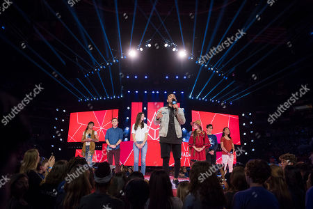 Jacob Hoggard seen on stage at WE Day, in Toronto