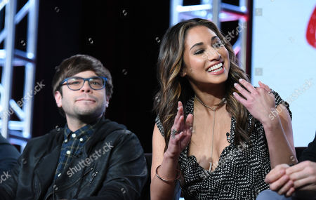 """Charlie Saxton, left, and Meaghan Rath participate in a panel for """"Cooper Barrett's Guide to Surviving Life"""" at the Fox Winter TCA, Pasadena, Calif"""