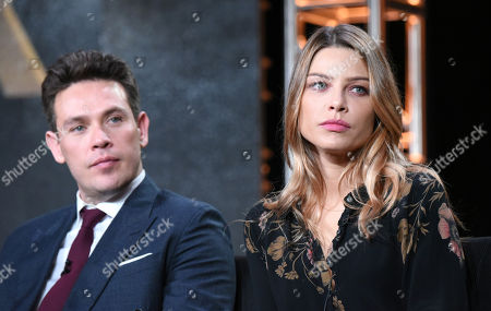 """Kevin Alejandro, left, and Lauren German participate in the """"Lucifer"""" panel at the Fox Winter TCA, Pasadena, Calif"""