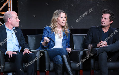 """Stock Picture of Executive Producers Jonathan Littman, from left, Ildy Modrovich and Len Wiseman participate in the """"Lucifer"""" panel at the Fox Winter TCA, Pasadena, Calif"""