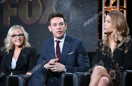 "Rachel Harris, from left, Kevin Alejandro and Lauren German participate in the ""Lucifer"" panel at the Fox Winter TCA, Pasadena, Calif"