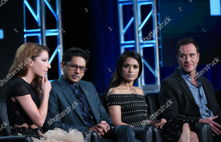"Vanessa Lengies, from left, Adhir Kalyan, Dilshad Vadsaria and Tim DeKay participate in the ""Second Chance"" panel at the Fox Winter TCA, Pasadena, Calif"