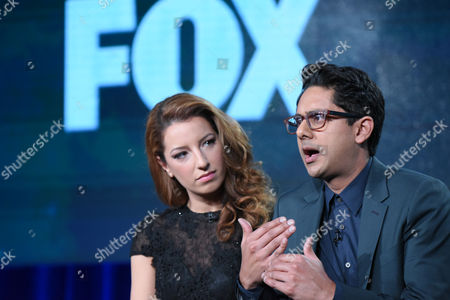 "Vanessa Lengies, left, and Adhir Kalyan participate in the ""Second Chance"" panel at the Fox Winter TCA, Pasadena, Calif"