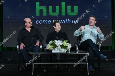 """Anthony E. Zuiker, from left, Darren Star and Rob Thomas participates in the """"Special Surprise"""" panel at the Hulu 2016 Winter TCA, in Pasadena, Calif"""