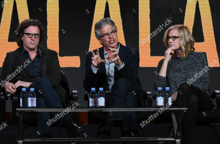 "Director/producer Davis Guggenheim, from left, executive producer Walter Parkes and executive producer Laurie MacDonald participate in the ""He Named Me Malala"" panel at the National Geographic Channel 2016 Winter TCA, in Pasadena, Calif"