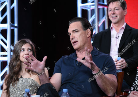 """Mia Serafino, from left, Patrick Warburton, and executive producer Sean Hayes participate in the """"Crowded"""" panel at the NBCUniversal Winter TCA, Pasadena, Calif"""