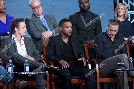 "Conor O'Farrell, from top row left, Demetrius Grosse and executive producer Julie Weitz, and from front row left, David Lyons, Larenz Tate and Michael Raymond-James participate in the ""Game of Silence"" panel at the NBCUniversal Winter TCA, Pasadena, Calif"