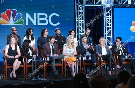 "The cast and crew of ""Heartbeat"" participate in a panel at the NBCUniversal Winter TCA, Pasadena, Calif. Pictured from back row left are JLouis Mills, Shelley Conn, executive producer Brad Silberling, Jamie Kennedy, Maya Erskine and Joshua Leonard, and from front row left, executive producers Amy Brenneman and Jill Gordon, Don Hany, Melissa George, Dave Annable, executive producer Kathy Magliato and D. L. Hughley"
