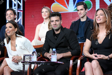 """The cast of """"Telenovela"""" participates in a panel at the NBCUniversal Winter TCA, Pasadena, Calif. Pictured from back row left are actors Izzy Diaz, Jadyn Douglas and Jose Moreno Brooks, and from front row left, executive producer/actress Eva Longoria and actors Jencarlos Canela and Alex Meneses"""