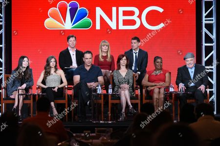 """Executive producer Sean Hayes, from top left, executive producer Suzanne Martin, and executive producer Todd Milliner, and front from left, Miranda Cosgrove, Mia Serafino, Patrick Warburton, Carrie Preston, Caralease Burke and Stacy Keach participate in the """"Crowded"""" panel at the NBCUniversal Winter TCA, Pasadena, Calif"""