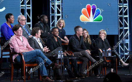 "Stock Image of The cast and crew of ""Game of Silence"" participate in a panel at the NBCUniversal Winter TCA, Pasadena, Calif. Pictured from back row left are Deidrie Henry, Conor O'Farrell, Demetrius Grosse and executive producer Julie Weitz, and from front row left, executive producer David Hudgins, David Lyons, Larenz Tate, Michael Raymond-James, Bre Blair and executive producer Carol Mendelsohn"