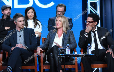 """Jamie Kennedy, from back row left, Maya Erskine and Joshua Leonard, and from front row left, Dave Annable, Kathy Magliato and D. L. Hughley participate in the """"Heartbeat"""" panel at the NBCUniversal Winter TCA, Pasadena, Calif"""
