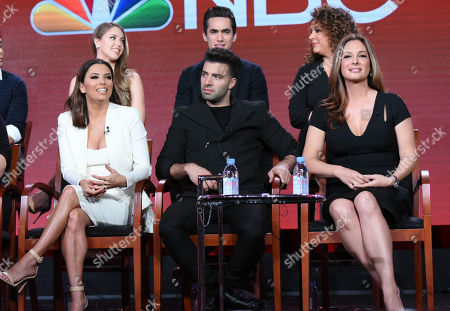 """The cast of """"Telenovela"""" participates in a panel at the NBCUniversal Winter TCA, Pasadena, Calif. Pictured from back row left are actors Jadyn Douglas, Jose Moreno Brooks and Diana-Maria Riva and from front row left, executive producer/actress Eva Longoria and actors Jencarlos Canela and Alex Meneses"""