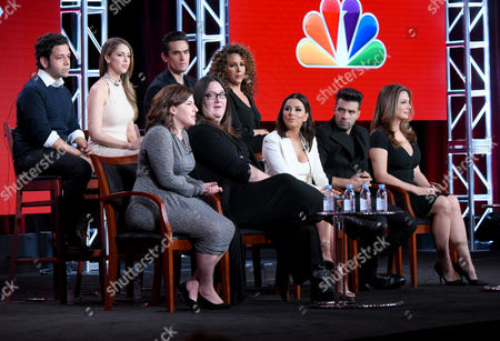 """The cast and crew of """"Telenovela"""" participates in a panel at the NBCUniversal Winter TCA, Pasadena, Calif. Pictured from back row left are actors Izzy Diaz, Jadyn Douglas, Jose Moreno Brooks, Diana-Maria Riva and from front row left, executive producers Jessica Goldstein, Chrissy Pietrosh and executive producer/actress Eva Longoria and actors Jencarlos Canela and Alex Meneses"""