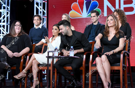"""The cast and crew of """"Telenovela"""" participates in a panel at the NBCUniversal Winter TCA, Pasadena, Calif. Pictured from back row left are actors Izzy Diaz, Jadyn Douglas, Jose Moreno Brooks, Diana-Maria Riva and from front row left, executive producer Chrissy Pietrosh, executive producer/actress Eva Longoria and actors Jencarlos Canela and Alex Meneses"""