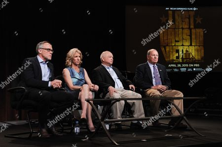 """Stock Photo of From left, Mark Samels, Rory Kennedy, Binh Pho, and Stuart Herrington speak on stage during the American Experience """"Last Days in Vietnam"""" panel at the PBS 2015 Winter TCA, in Pasadena, Calif"""