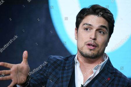 "Actor Diogo Morgado speaks on stage during the ""Love Finds You in Valentine"" panel at the UP 2016 Winter TCA, in Pasadena, Calif"