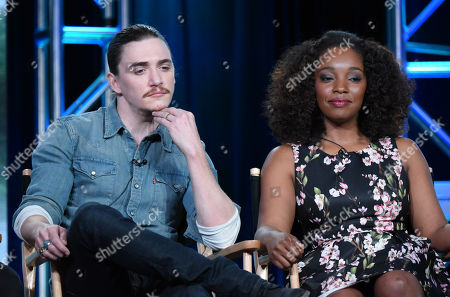 "Kyle Gallner, left, and Christina Jackson participate in the panel for ""Outsiders"" at the WGN America 2016 Winter TCA, in Pasadena, Calif"