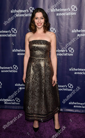 """Actress Lauren Miller Rogen poses at the 23rd Annual """"A Night at Sardi's"""" event to benefit the Alzheimer's Association, at the Beverly Hilton Hotel, in Beverly Hills, Calif"""