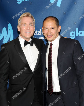 Sam Champion, left, and boyfriend Rubem Robierb attend the 24th Annual GLAAD Media Awards at the Marriott Marquis on in New York