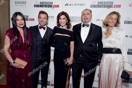 Stock Picture of Sonia Amoruso, Alessandro Del Piero, Jo Champa, Andrea Boragno, Chairman and CEO of Alcantara S.p.A., and guest seen at 30th Annual American Cinematheque Award Honoring Ridley Scott at The Beverly Hilton, in Beverly Hills, CA