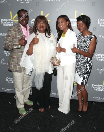 Jay Smith, Vanguard Leadership Award recipient Chaz Ebert (on behalf of honoree Roger Ebert), Sonia Evans, Raven Evans attend the 2013 'Celebrate Sundance Institute' Los Angeles Benefit at The Lot on in West Hollywood, California