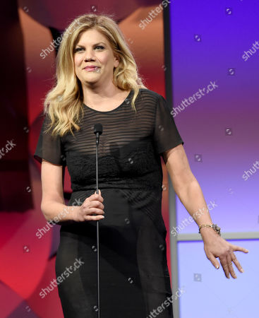 Stock Photo of Kristen Johnston speaks at the 40th Anniversary Gracies Awards at the Beverly Hilton Hotel, in Beverly Hills, Calif