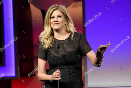 Stock Image of Kristen Johnston speaks at the 40th Anniversary Gracies Awards at the Beverly Hilton Hotel, in Beverly Hills, Calif