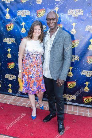 Stock Photo of Lance Reddick, right, and Stephanie Reddick arrive at The 42nd Annual Saturn Awards at the Castaway on Wednesday, June 22, in Burbank, Calif