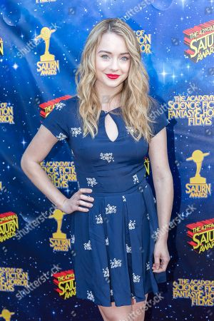 Hannah Kasulka arrives at The 42nd Annual Saturn Awards at the Castaway on Wednesday, June 22, in Burbank, Calif